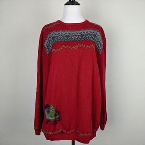 Woolrich Red Embroidered Knit Christmas Sweater